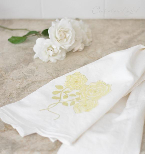 yellow rose kitchen towel cg