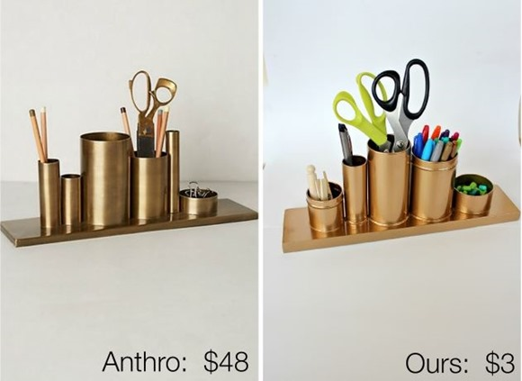 anthropologie knockoff gold pencil holder