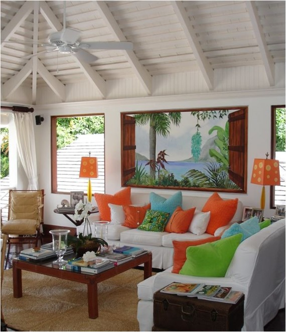 tropical touches living room