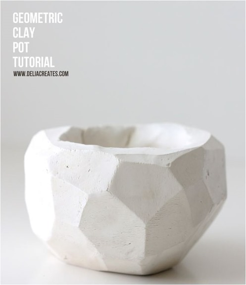 geometric clay pot