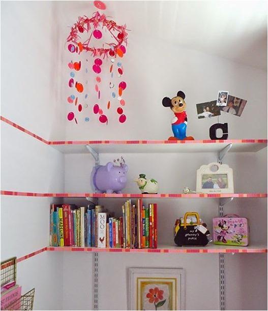 washi tape on shelves