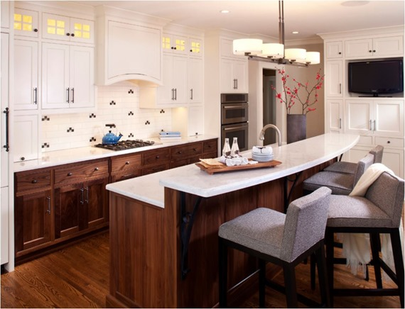 White And Walnut Kitchen Cabinets Upper And Lower