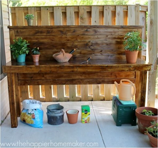 headboard to potting bench