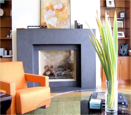 modern organic fireplace