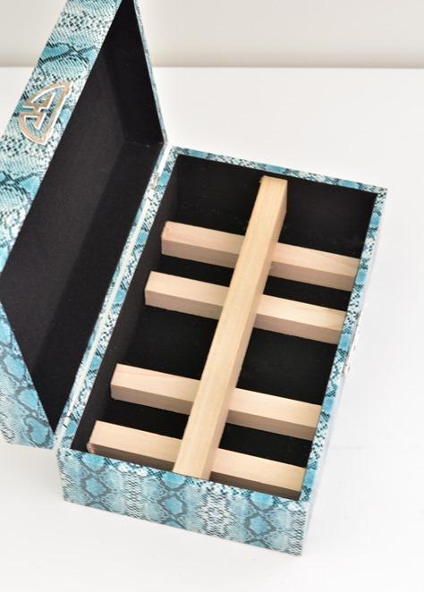 wood grid in box