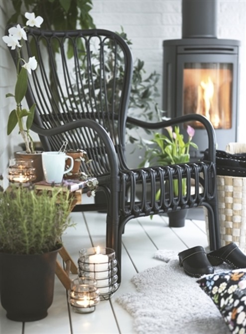 black ikea rattan chair