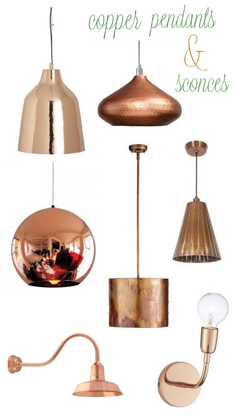 copper pendants and sconces