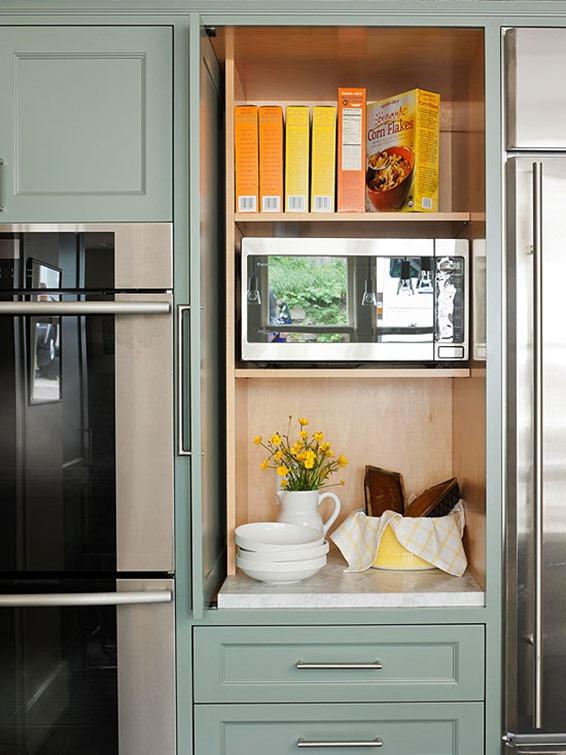 hidden microwave behind cabinet