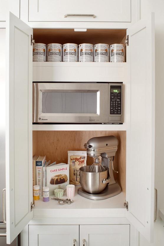 hidden microwave in cabinet