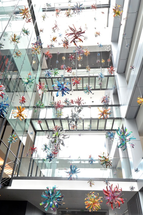 metal starbursts in atrium