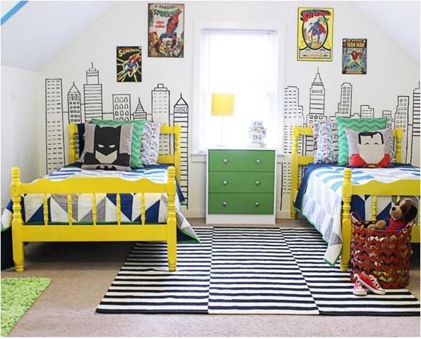 modern superhero boys room