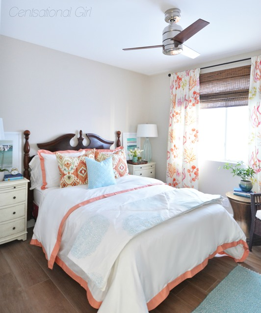 coral guest bedroom centsational girl
