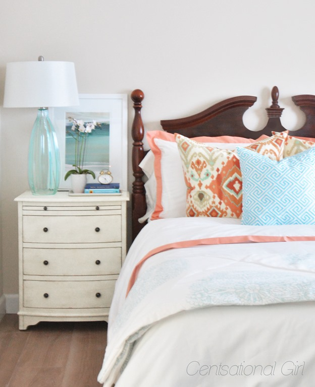 Coral aqua guest room centsational girl for Centsational girl