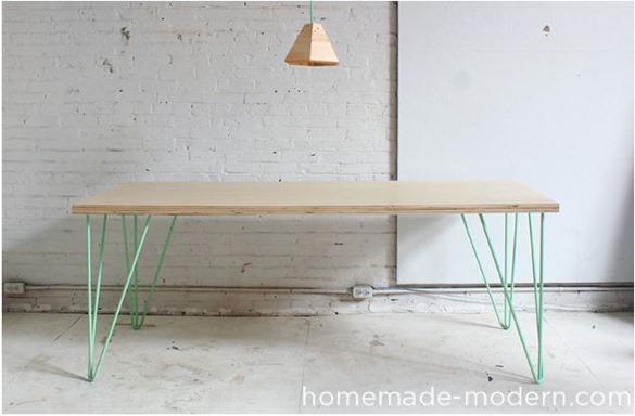 pin leg plywood table