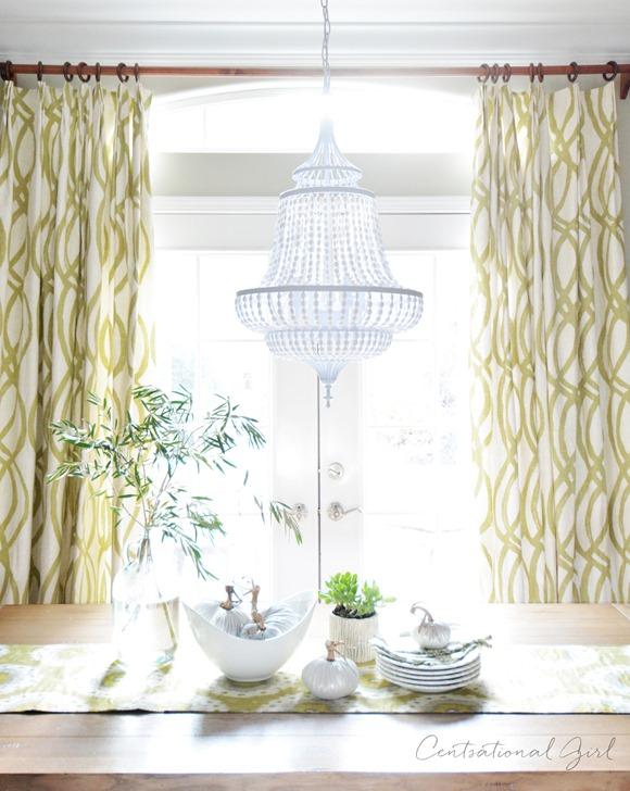 white beaded chandelier dining room