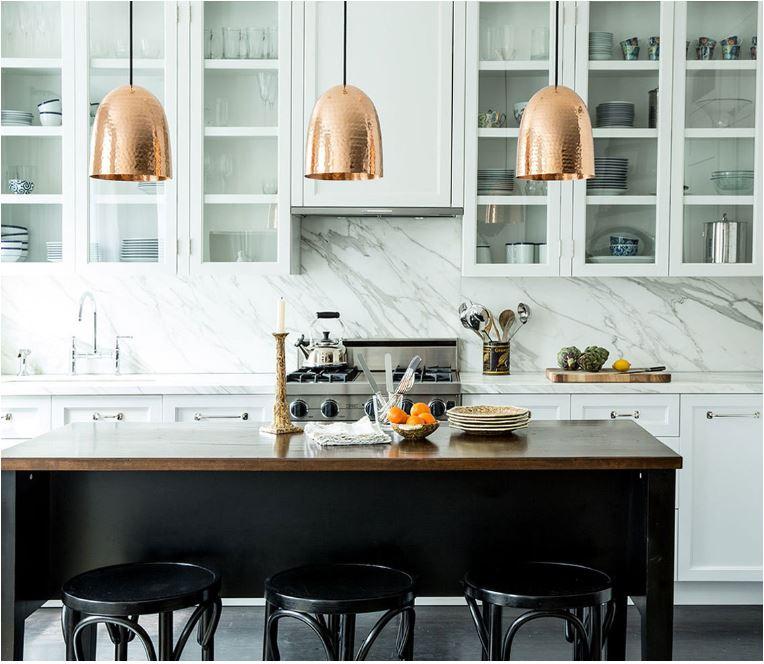 white kitchen copper pendants