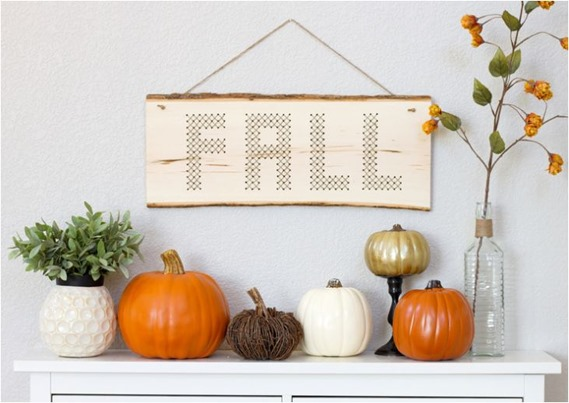 wood plank stitched fall wall hanging