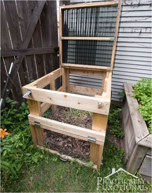 Build a backyard compost bin with a tutorial at practically functional
