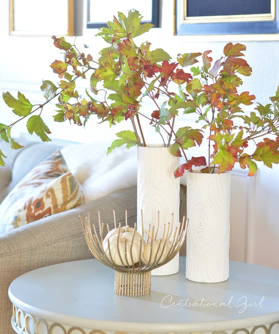 fall leaves faux bois vases