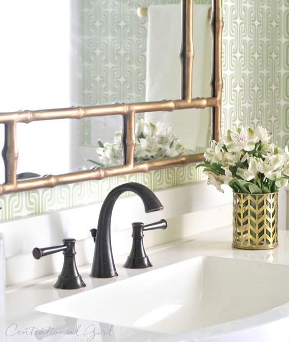 oil rubbed bronze bathroom mirror green gold bathroom makeover centsational style 23878