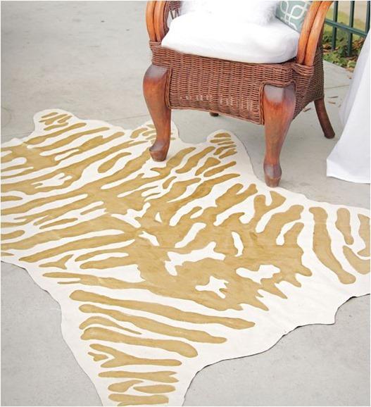 gold zebra rug diy