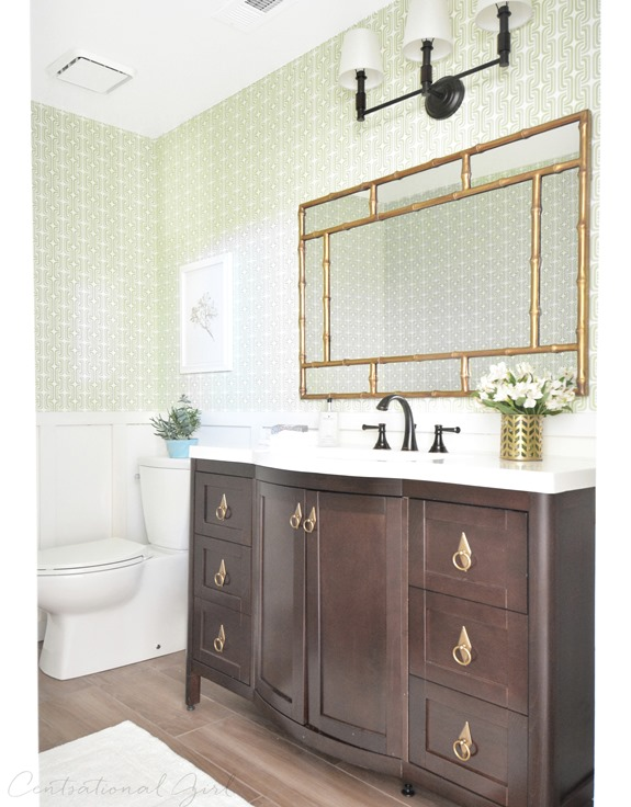 green gold bathroom makeover