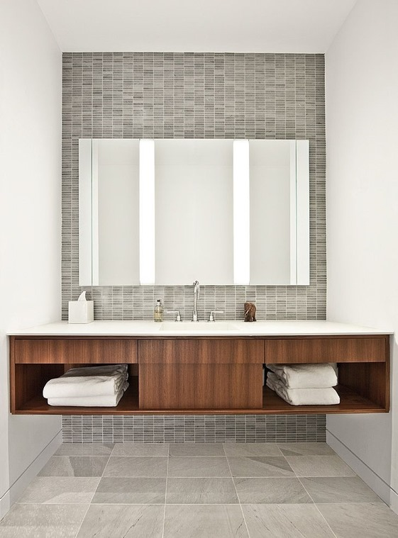 warm wood gray tile bathroom vanity