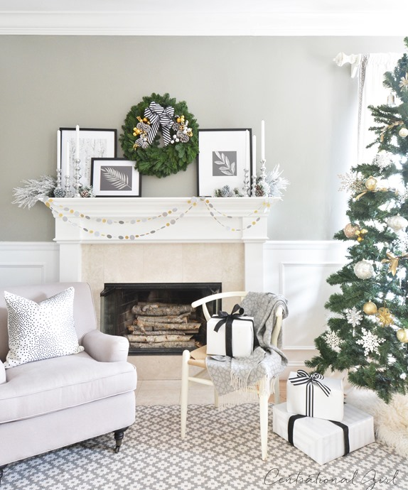 black and white christmas mantel centsational girl