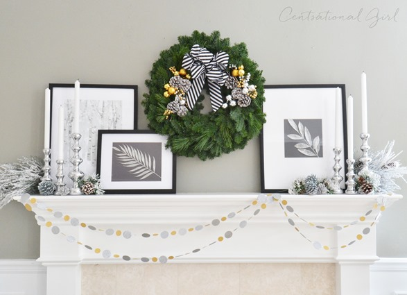 centsational girl black and white christmas mantel