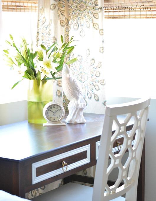 desktop clock and vase