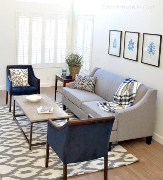 gray sofa navy chairs