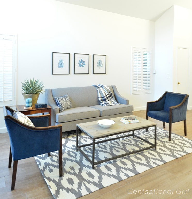 Navy And Grey Living Room Modern House