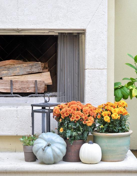 mums pumpkins on fireplace