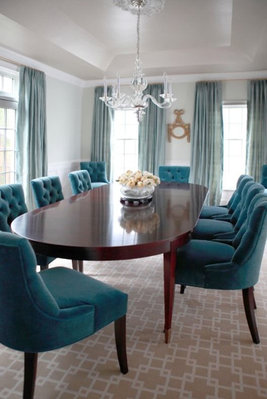 Textile spotlight velvet centsational girl for Teal dining room decorating ideas