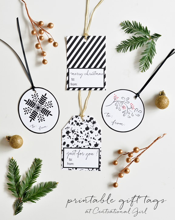 black and white holiday gift tags centsational girl