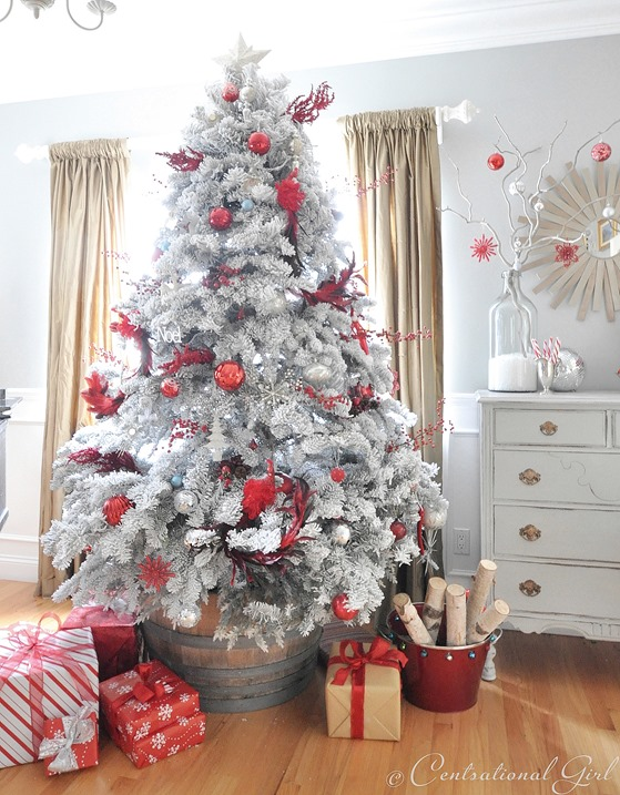 flocked red and white tree