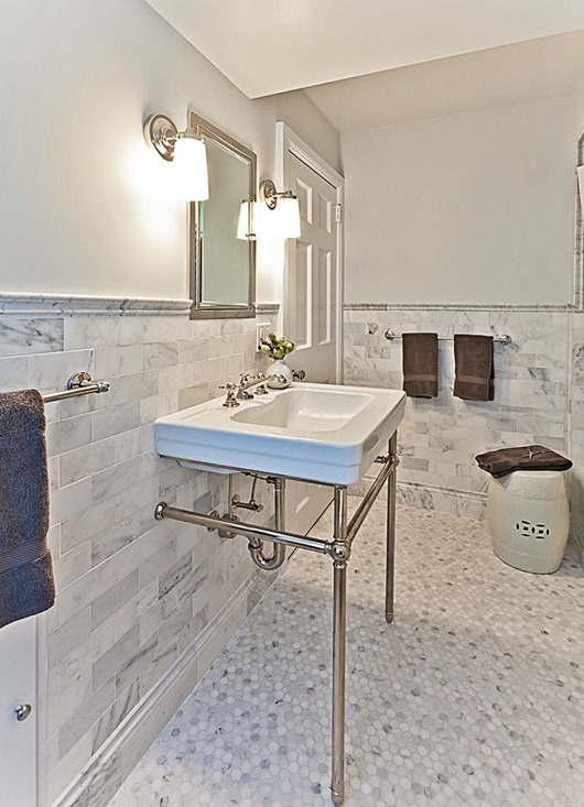 hexagon bathroom tile floor