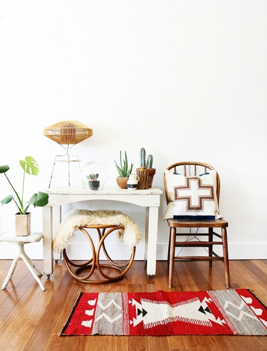 navajo rug wood floors white walls