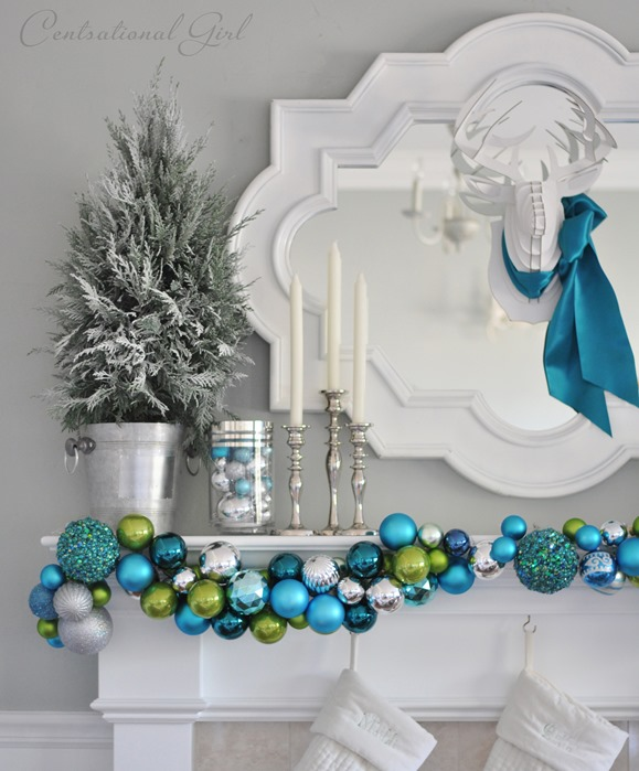 ornament garland on christmas mantel