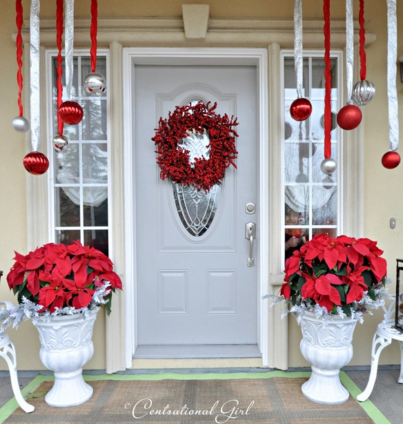 poinsettias on porch