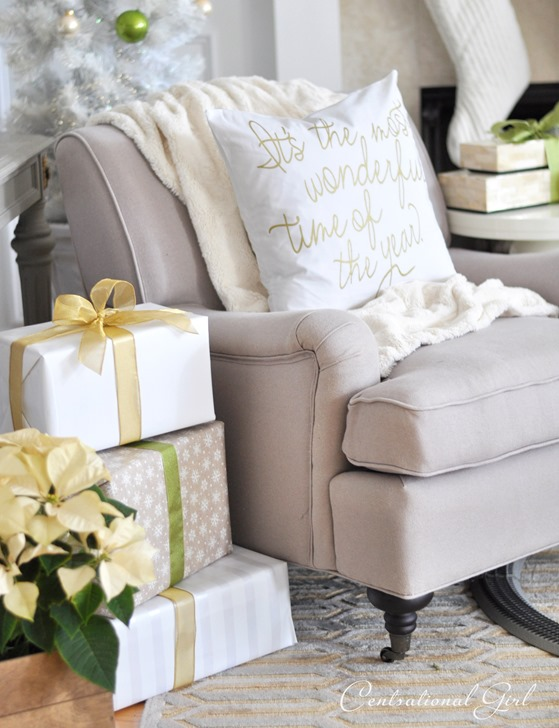 wonderful time pillow on chair
