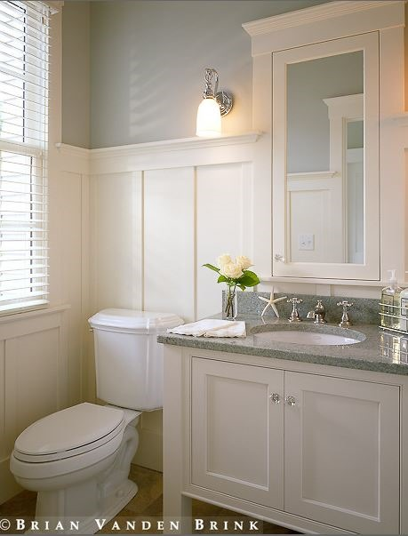 More ways to update a bathroom centsational style for Bathrooms with wainscoting photos