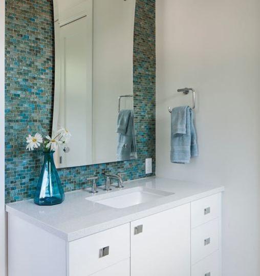 blue glass tile bathroom backsplash