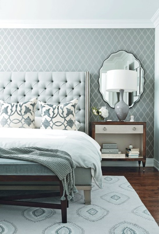 blue gray elegant bedroom