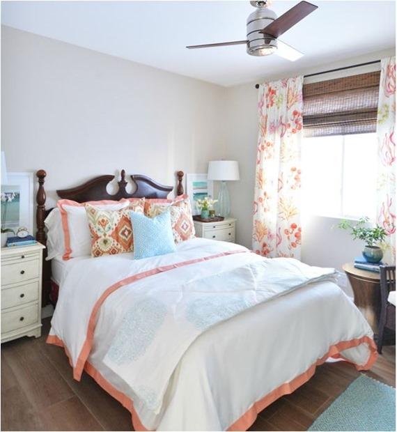 coral guest bedroom