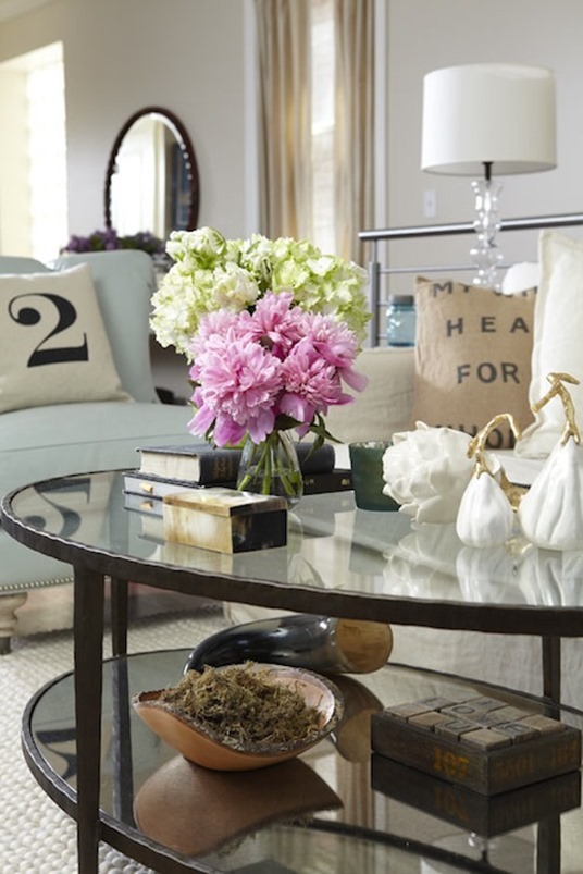 flowers books on coffee table jillian harris