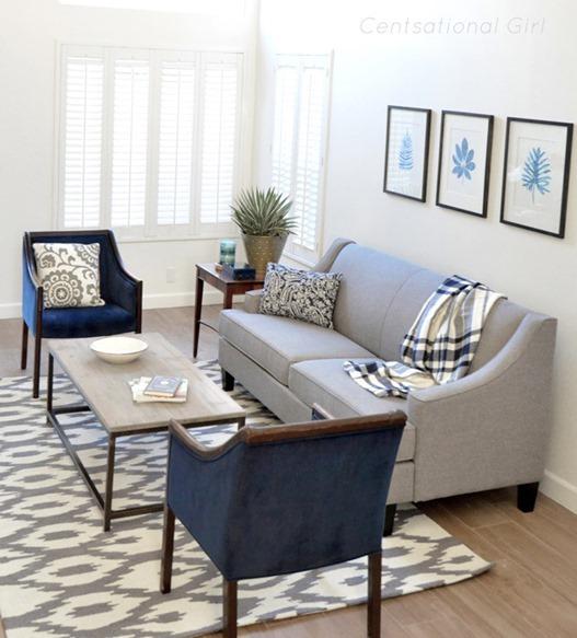 gray sofa in living room