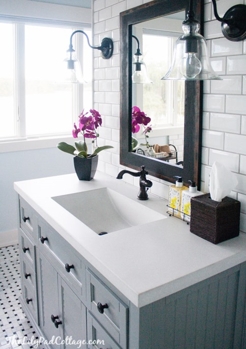 gray vanity bathroom sconces