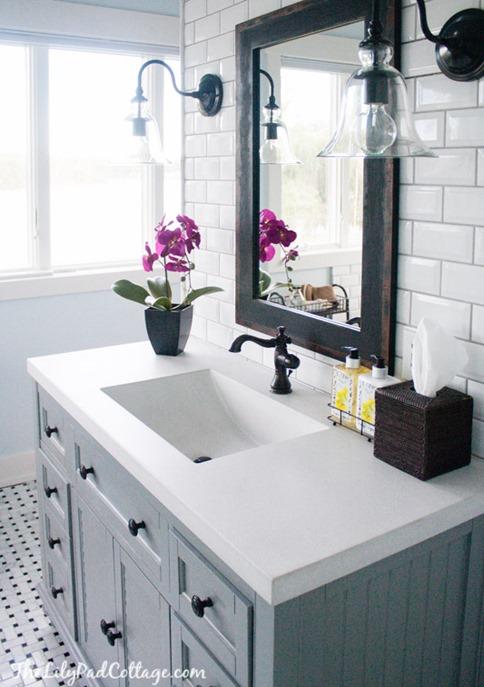 gray vanity bathroom sconces