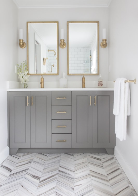 gray vanity marble chevron floor